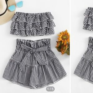 Gingham Print Tiered Top/ Shorts SET